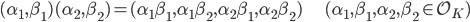 (\alpha_1, \beta_1) (\alpha_2, \beta_2) = (\alpha_1 \beta_1, \alpha_1 \beta_2, \alpha_2 \beta_1, \alpha_2 \beta_2) \hspace{20px} (\alpha_1, \beta_1, \alpha_2, \beta_2 \in \mathcal{O}_K)