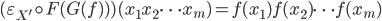 (\varepsilon_{X'} \circ F(G(f)))(x_1 x_2 \cdots x_m) = f(x_1) f(x_2) \cdots f(x_m)