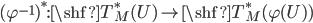 (\varphi^{-1})^*: \shf{T}^*_M(U) \to \shf{T}_M^*(\varphi(U))