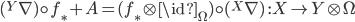 ({}^Y\nabla)\circ f_\ast +  A = (f_\ast \otimes \id_\Omega) \circ ({}^X\nabla) \:\: : X\to Y\otimes\Omega
