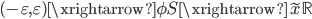 (-\varepsilon, \varepsilon) \xrightarrow{\phi} S \xrightarrow{\tilde{x}} \mathbb{R}