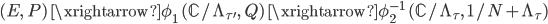 (E, \; P) \; \xrightarrow{\phi_1 }\; (\mathbb{C}/\Lambda_{\tau'}, \; Q) \; \xrightarrow{\phi_2^{-1} } \; (\mathbb{C}/\Lambda_{\tau}, \; 1/N + \Lambda_{\tau})