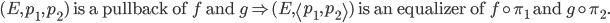 (E, p_{1}, p_{2}) \text{ is a pullback of } f \text{ and } g \Rightarrow (E, \left< p_{1}, p_{2} \right>) \text{ is an equalizer of } f \circ \pi_{1} \text{ and } g \circ \pi_{2}.