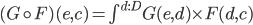 (G \circ F)(e, c) = \int^{d : D}G(e, d) \times F(d, c)