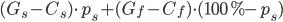 (G_s - C_s) \cdot p_s + (G_f - C_f) \cdot (100\% - p_s)