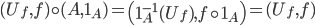 (U_{f}, f) \circ (A, 1_{A}) = \left( 1_{A}^{-1}(U_{f}), f \circ 1_{A} \right) = (U_{f}, f)