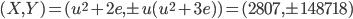 (X,Y)=(u^2+2e, \pm u(u^2+3e)) = (2807, \pm 148718)