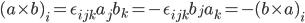 (a \times b)_i  = \epsilon_{ijk}a_j b_k = -\epsilon_{ijk} b_j a_k = - (b \times a)_i
