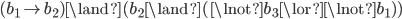 (b_1 \rightarrow b_2) \land(b_2 \land (\lnot b_3 \lor \lnot b_1))