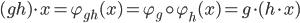 (gh)\cdot x = \varphi_{gh}(x) = \varphi_g \circ \varphi_h (x) =g\cdot (h\cdot x)