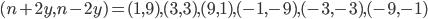 (n + 2y, n - 2y) = (1, 9), (3, 3), (9, 1), (-1, -9), (-3, -3), (-9, -1)