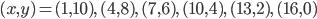 (x, y) = (1, 10),\, (4, 8),\, (7, 6),\, (10, 4),\, (13, 2),\, (16, 0)