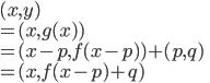 (x, y) \\= (x, g(x)) \\= (x-p, f(x-p))+(p,q) \\=(x, f(x-p)+q)