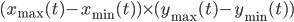 (x_{\max}(t) - x_{\min}(t)) \times (y_{\max}(t) - y_{\min}(t))