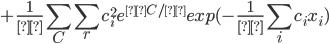 + \displaystyle\frac{1}{Ξ}  \sum_C\sum_r c_i ^2 e^{μC/λ}exp(-\displaystyle\frac{1}{λ}\sum_i c_i x_i)