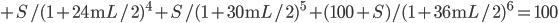 + S/(1+24\rm{m}L/2)^4 + S/(1+30\rm{m}L/2)^5 + (100+S)/(1+36\rm{m}L/2)^6 =100