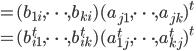 = (b_{1i}, \cdots, b_{ki})(a_{j1},\cdots, a_{jk})^t\\ = (b^t_{i1},\cdots, b^t_{ik})(a^t_{1j}, \cdots, a^t_{kj})^t