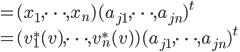 = (x_1, \cdots, x_n)(a_{j1}, \cdots, a_{jn})^t\\ =(v^*_1(v), \cdots, v^*_n(v))(a_{j1}, \cdots, a_{jn})^t
