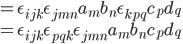 = \epsilon_{ijk}\epsilon_{jmn} a_m b_n \epsilon_{kpq} c_p d_q\\                            = \epsilon_{ijk} \epsilon_{pqk }\epsilon_{jmn} a_m b_n c_p d_q