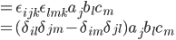 = \epsilon_{ijk}\epsilon_{lmk}a_j b_l c_m\\ = (\delta_{il}\delta_{jm} - \delta_{im}\delta_{jl}) a_j b_l c_m