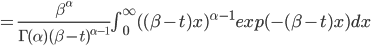 = \frac{\beta^{\alpha}}{\Gamma(\alpha) (\beta-t)^{\alpha-1}} \int_{0}^{\infty}  ((\beta-t) x)^{\alpha-1} exp(-(\beta-t) x) dx