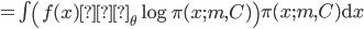 = \int \left( f(x) ∇_{\theta} \log \pi(x; m, C) \right) \pi(x; m, C) \mathrm{d}x