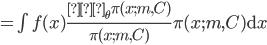 = \int f(x) \frac{∇_{\theta} \pi(x; m, C)}{\pi(x; m, C)} \pi(x; m, C) \mathrm{d}x