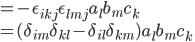 = - \epsilon_{ikj}\epsilon_{lmj}a_l b_m c_k\\ = (\delta_{im}\delta_{kl} - \delta_{il}\delta_{km}) a_l b_m c_k