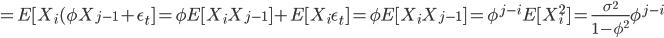 = E[ X_i  ( \phi X_{j-1} + \epsilon_t ] = \phi E [ X_i X_{j-1}] + E [ X_i \epsilon_t ]= \phi E [ X_i X_{j-1}] = \phi^{j-i} E [ X_i^2] = \frac{\sigma^2}{1-\phi^2} \phi^{j-i}