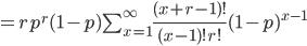= r p^r (1-p) \sum_{x=1}^{\infty} \frac{(x+r-1)!}{(x-1)! r!} (1-p)^{x-1}