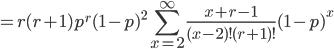 = r(r+1) p^r (1-p)^2  \sum_{x=2}^{\infty} \frac{x+r-1}{(x-2)! (r+1)!}  (1-p)^{x}