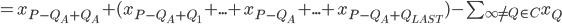 = x_{P-Q_A+Q_A} + (x_{P-Q_A+Q_1} + ... + x_{P-Q_A} + ... + x_{P-Q_A+Q_{LAST}}) - \sum_{\infty \ne Q\in C} x_Q