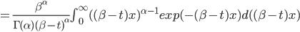 =\frac{\beta^{\alpha}}{\Gamma(\alpha) (\beta-t)^{\alpha}}  \int_{0}^{\infty}  ((\beta-t) x)^{\alpha-1} exp(-(\beta-t) x) d((\beta-t)x)