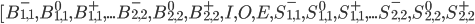 [B^{-}_{1,1}, B^{0}_{1,1}, B^{+}_{1,1},...B^{-}_{2,2}, B^{0}_{2,2}, B^{+}_{2,2}, I, O, E, S^{-}_{1,1}, S^{0}_{1,1}, S^{+}_{1,1},...S^{-}_{2,2}, S^{0}_{2,2}, S^{+}_{2,2}