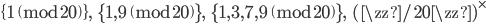 \{1 \pmod{20}\}, \;\; \{1, 9 \pmod{20}\}, \;\; \{1, 3, 7, 9 \pmod{20}\}, \;\; (\zz/20\zz)^\times