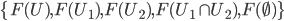 \{F(U), F(U_1), F(U_2), F(U_1 \cap U_2), F(\emptyset)\}
