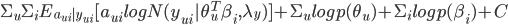 \Sigma_{u}\Sigma_{i}E_{a_{ui}|y_{ui}}[a_{ui} logN(y_{ui}|\theta_{u}^{T}\beta_{i}, \lambda_{y})] + \Sigma_{u}log p(\theta_{u}) +  \Sigma_{i}log p(\beta_{i}) + C