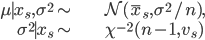 \begin{align} \mu\mid x_{s},\sigma^{2}\sim & \mathcal{N}(\bar{x}_{s},\sigma^{2}/n),\\ \sigma^{2}\mid x_{s}\sim & \chi^{-2}(n-1,v_{s})\end{align}