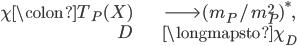 \begin{align} \chi \colon T_P(X) &\longrightarrow (\mathfrak{m}_P/\mathfrak{m}_P^2)^*, \\ D &\longmapsto \chi_D \end{align}