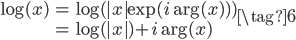 \begin{align} \log(x) &= \log( |x|\exp(i \arg(x) ) ) \ &= \log(|x|) + i \arg(x) \end{align} \tag{6}