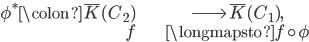 \begin{align} \phi^*\colon \overline{K}(C_2) &\longrightarrow \overline{K}(C_1), \\ f &\longmapsto f\circ \phi \end{align}
