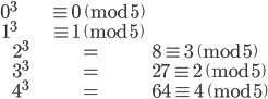 \begin{align} 0^3 &\equiv 0 \pmod{5} \\  1^3 &\equiv 1 \pmod{5} \\  2^3 &= 8 \equiv 3 \pmod{5} \\  3^3 &= 27 \equiv 2 \pmod{5} \\  4^3 &= 64 \equiv 4 \pmod{5} \end{align}