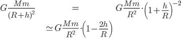 \begin{align} G \frac{Mm}{(R+h)^2} &= G \frac{Mm}{R^2} \cdot \left( 1 + \frac{h}{R} \right)^{-2} \\ &\simeq G \frac{Mm}{R^2} \cdot \left( 1 - \frac{2h}{R} \right) \end{align}