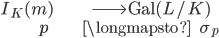 \begin{align} I_K(\mathfrak{m}) &\longrightarrow \operatorname{Gal}(L/K) \\ \mathfrak{p}\;\;\; &\longmapsto \;\;\;\;\; \sigma_{\mathfrak{p}} \end{align}