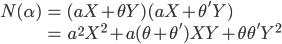 \begin{align} N(\alpha) &= (aX + \theta Y)(aX + \theta' Y) \\ &= a^2 X^2 + a(\theta + \theta')XY + \theta \theta' Y^2 \end{align}
