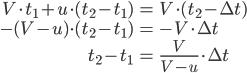 \begin{align} V \cdot t_1 + u \cdot (t_2 - t_1) &= V \cdot (t_2 - \Delta t) \\ -(V - u) \cdot (t_2 - t_1) &= - V \cdot \Delta t \\ t_2 - t_1 &= \frac{V}{V-u} \cdot \Delta t \end{align}