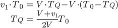 \begin{align} v_1 \cdot T_0 &= V \cdot T_Q - V \cdot (T_0 - T_Q) \\ T_Q &= \frac{V+v_1}{2V} T_0 \end{align}