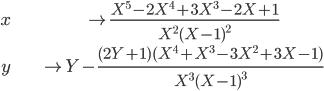 \begin{align} x &\mapsto \frac{X^5 - 2X^4 + 3X^3 - 2X + 1}{X^2(X-1)^2} \\  y &\mapsto Y - \frac{(2Y + 1)(X^4 + X^3 - 3X^2 + 3X - 1)}{X^3 (X-1)^3} \end{align}