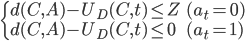 \begin{cases} d(C, A) - U_D(C, t) \leq Z & (a_t = 0) \\  d(C, A) - U_D(C, t) \leq 0 & (a_t = 1) \end{cases}