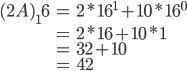 \begin{eqnarray} (2A)_16 &=&  2 * 16^1 + 10 * 16^0 \\ &=& 2 * 16 + 10 * 1 \\ &=& 32 + 10 \\ &=& 42 \end{eqnarray}